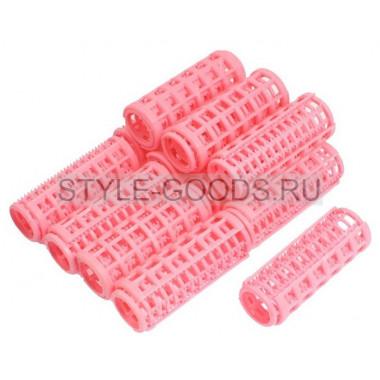 Бигуди для волос, 12 штук (пластик) (розовые)
