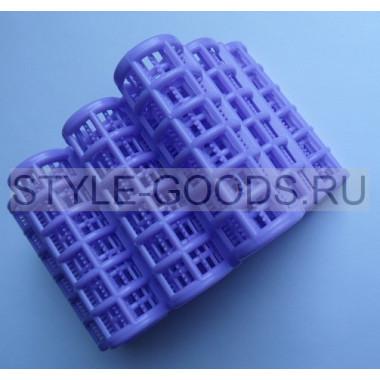 Бигуди для волос, 12 штук (пластик) (фиолетовые)