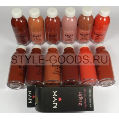 Блеск  NYX Bright LipGlaze Velvet  12 шт. (№ 01-12)