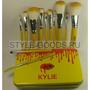 Кисти для макияжа Kylie 12 штук (желтые)