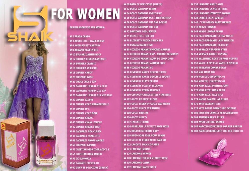 Номерные духи Shaik (Шейк) женские - таблица